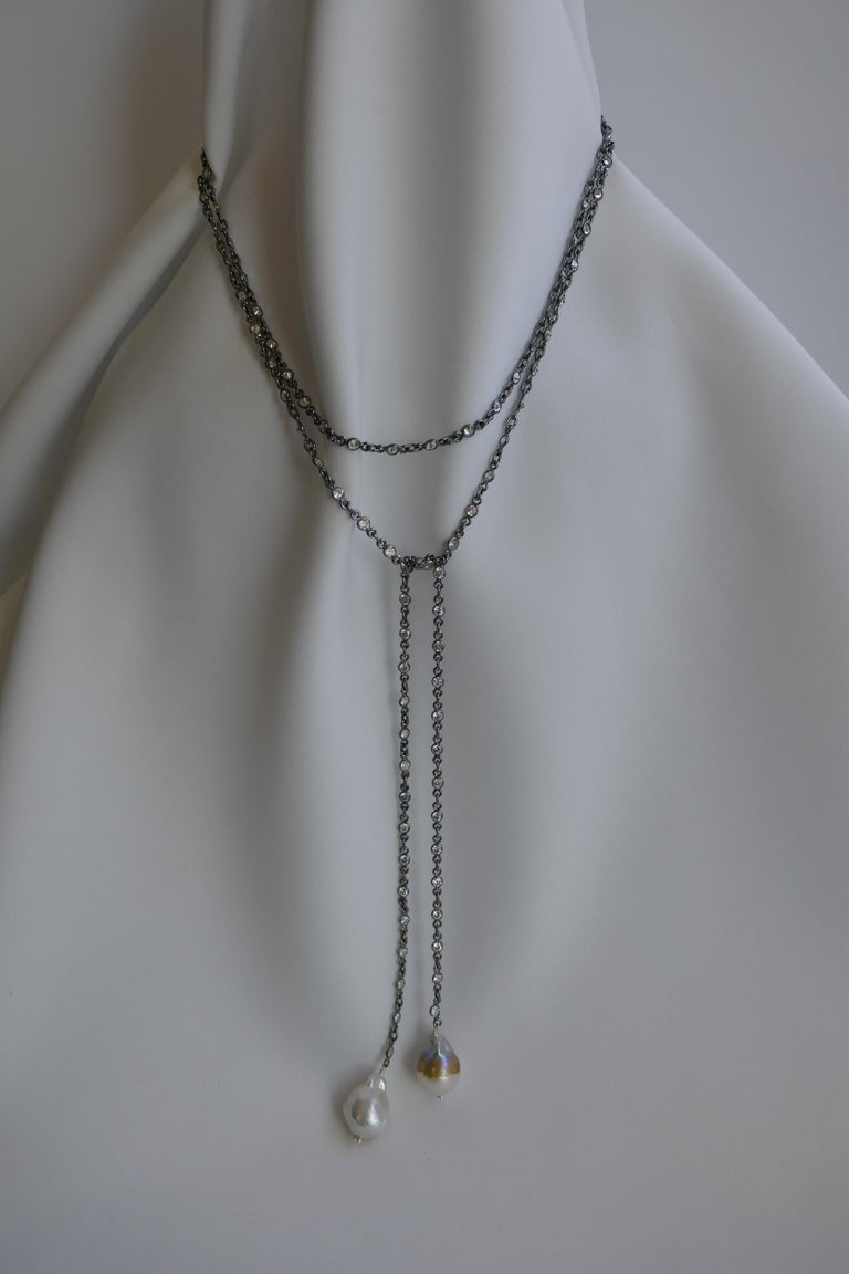 Women's Oxidized Silver Cubic Zirconia Chain Cultured Baroque Pearl Lariat Necklace For Sale