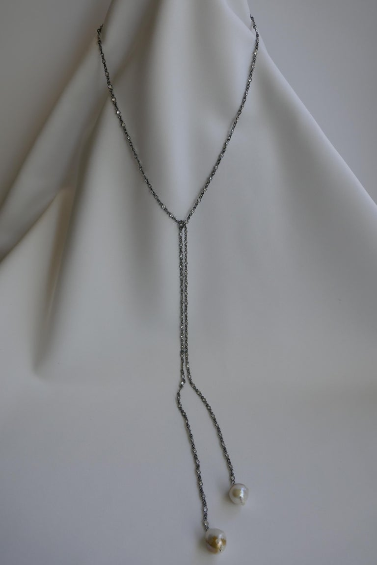 Oxidized Silver Cubic Zirconia Chain Cultured Baroque Pearl Lariat Necklace For Sale 1