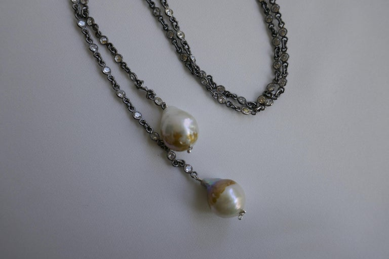Oxidized Silver Cubic Zirconia Chain Cultured Baroque Pearl Lariat Necklace For Sale 2