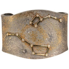 Oxidized Sterling Silver, 24 Karat Gold, and 18k Gold Diamond Constellation Cuff
