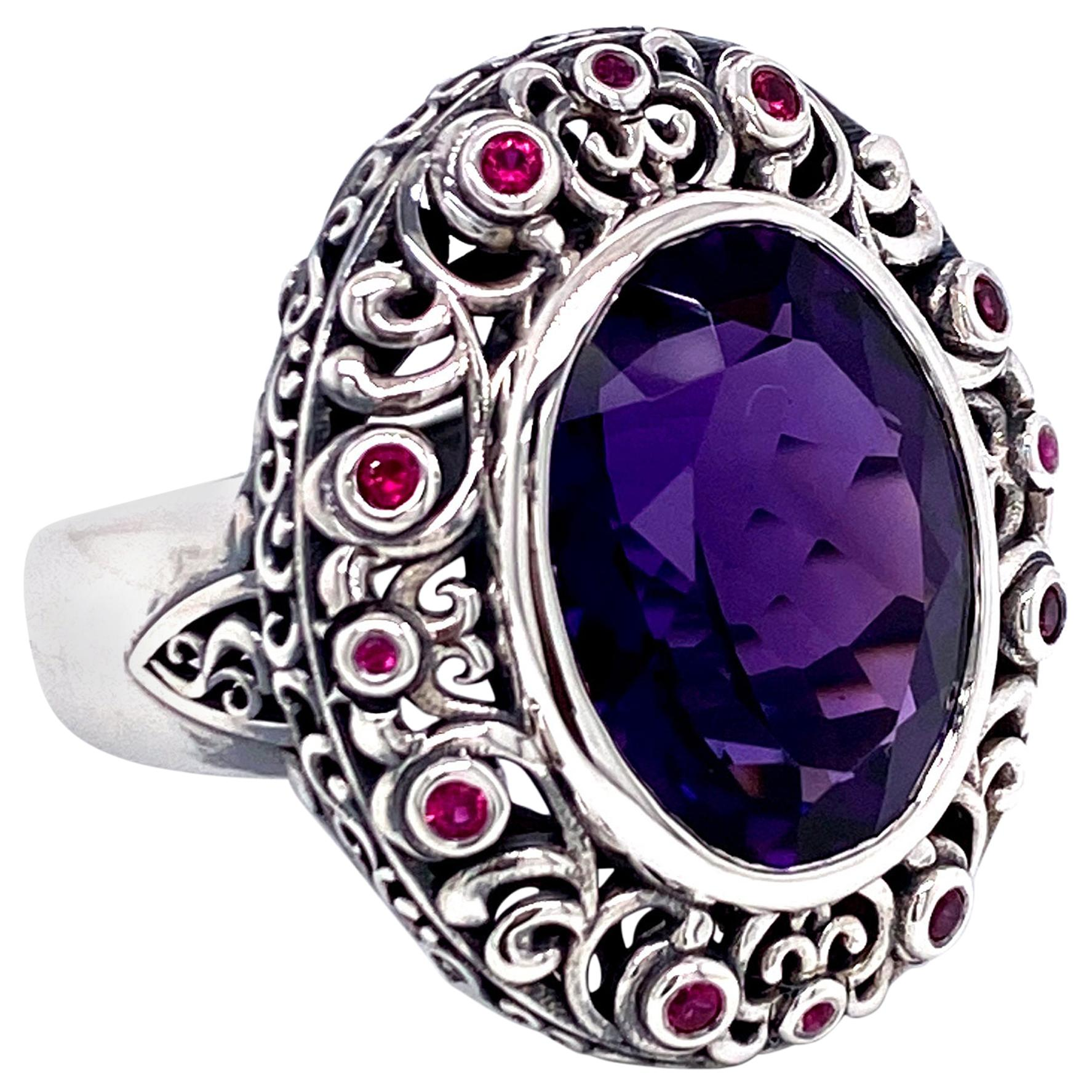 Oxidized Sterling Silver 8.75 Carat Amethyst and Ruby Ring