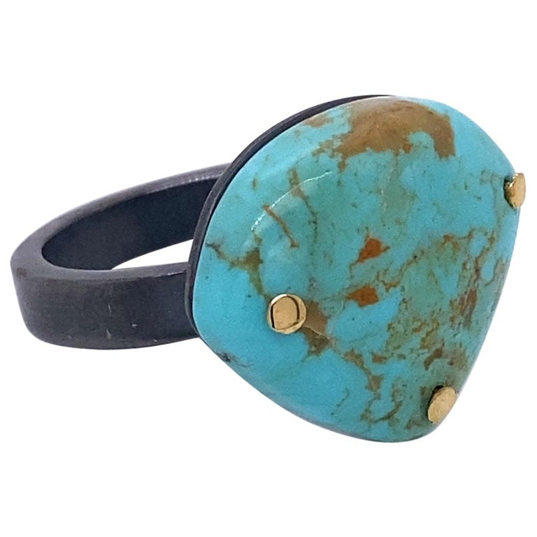 Oxidized Sterling Silver and 18 Karat Yellow Gold Turquoise Ring For Sale