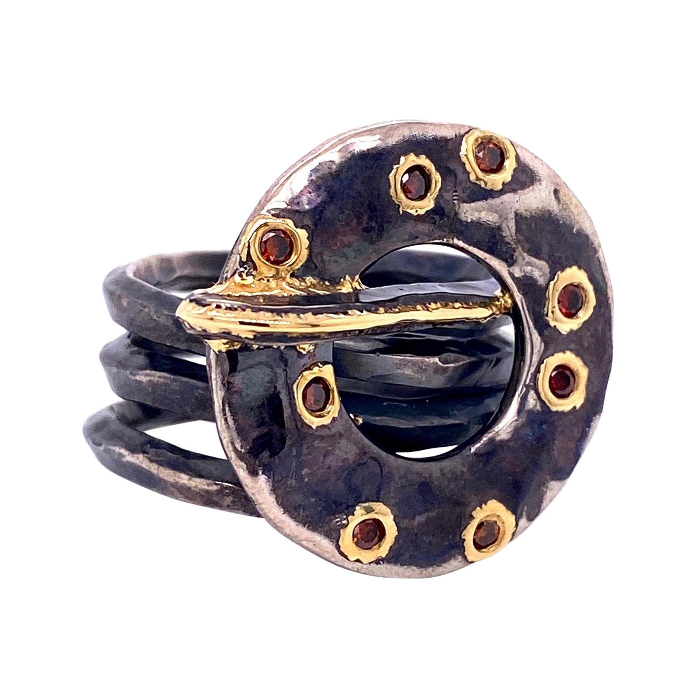 """Oxidized Sterling Silver and 18k Yellow Gold Hammered """"O"""" Ring with Red Diamonds"""
