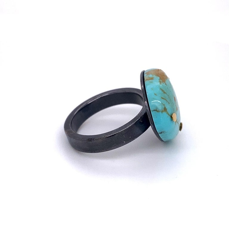Contemporary Oxidized Sterling Silver and 18 Karat Yellow Gold Turquoise Ring For Sale