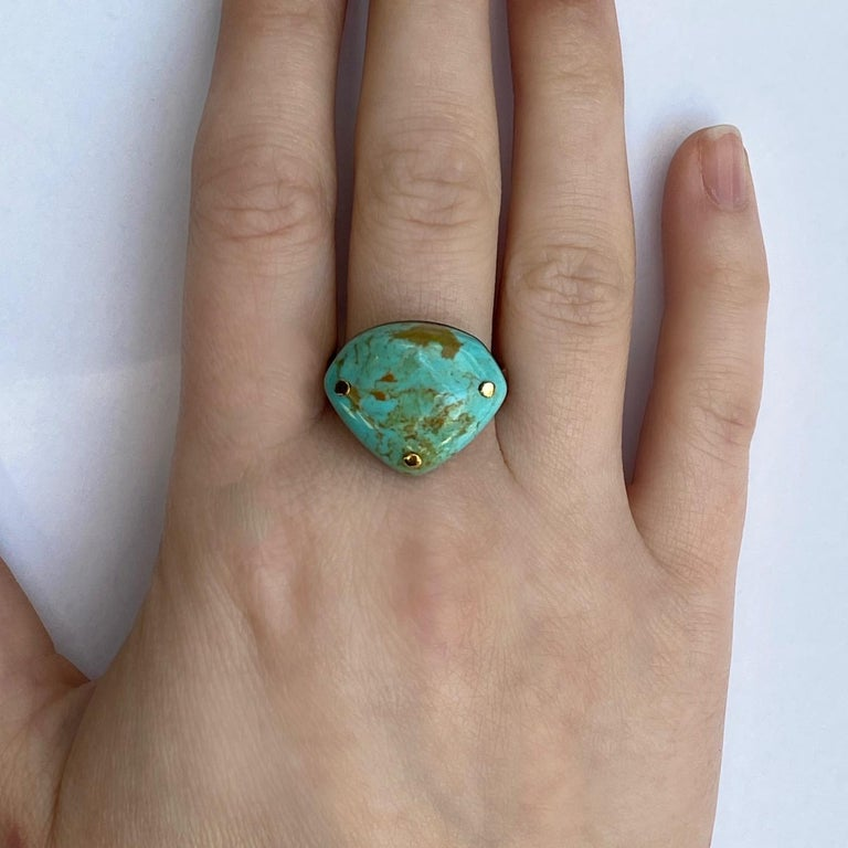 Cabochon Oxidized Sterling Silver and 18 Karat Yellow Gold Turquoise Ring For Sale