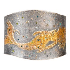 Oxidized Sterling Silver and 24 Karat Fairy Dust Mermaid Cuff with Diamonds
