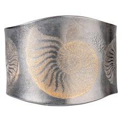 Oxidized Sterling Silver and 24 Karat Yellow Gold Ammonite Cuff Bracelet