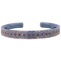 Oxidized Sterling Silver and 24k Yellow Gold Narrow Cuff with Cabernet Diamonds