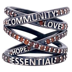 """Oxidized Sterling Silver """"Not Non-Essential"""" Wrap Ring with Red Diamonds"""