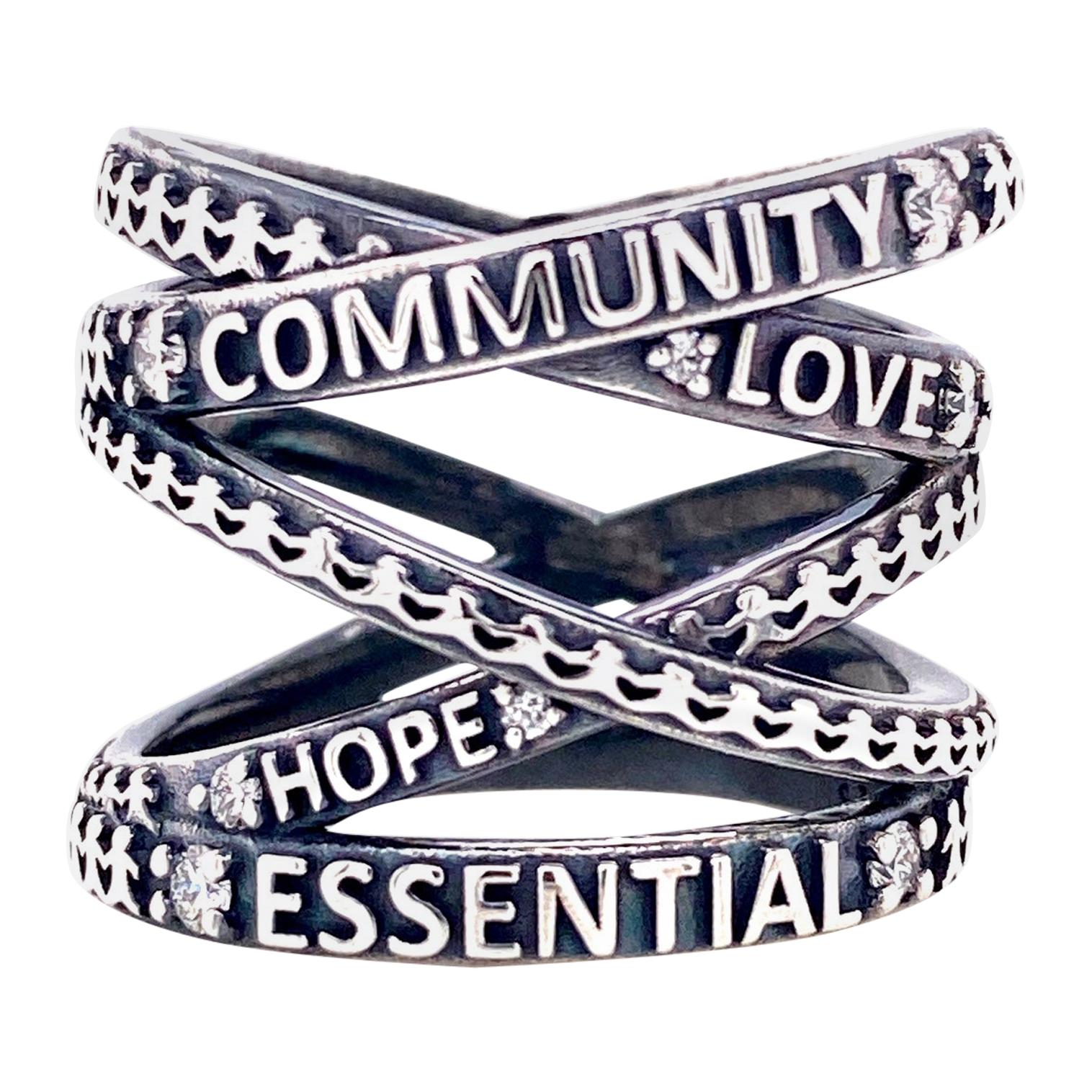 """Oxidized Sterling Silver """"Not Non-Essential"""" Wrap Ring with White Diamonds"""