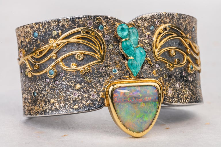 Art Nouveau Oxidized Sterling Silver with 18k, 22k and 24k