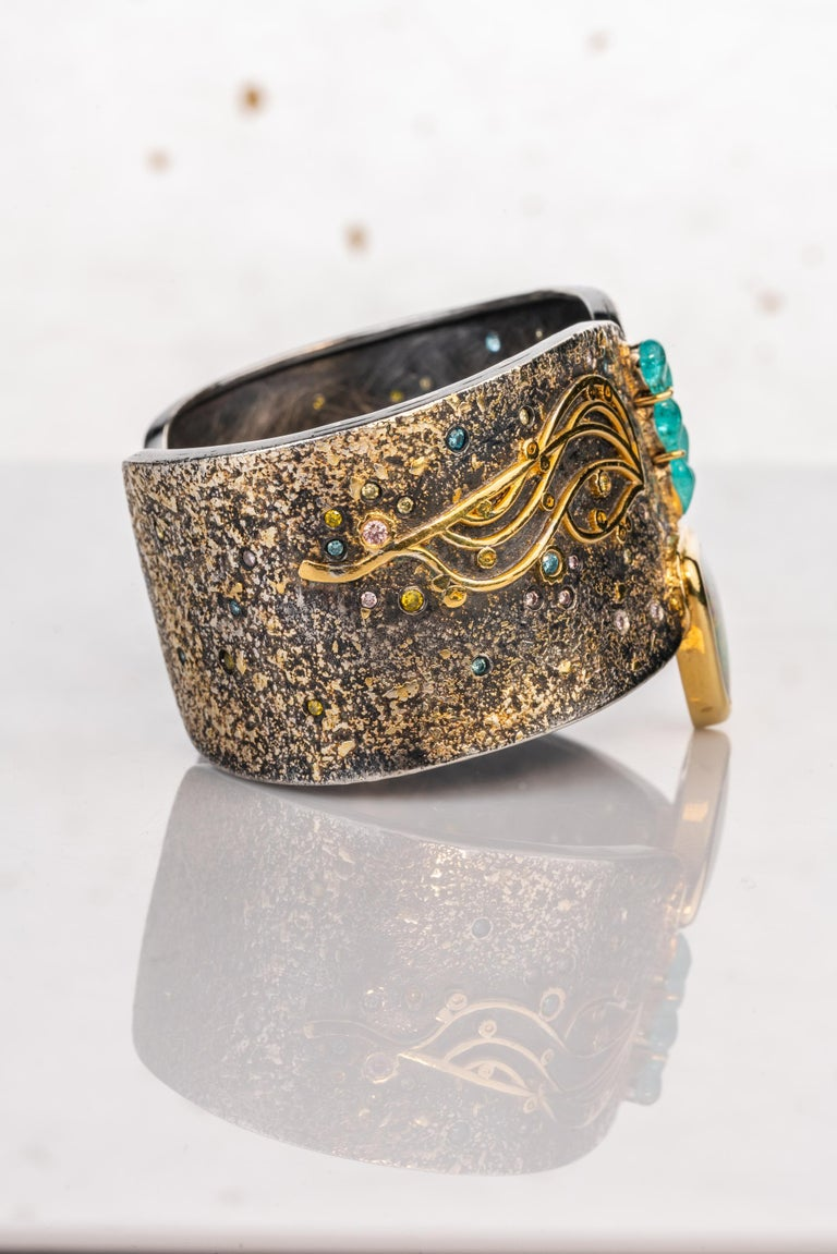 Oxidized Sterling Silver with 18k, 22k and 24k