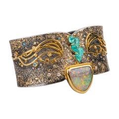 "Oxidized Sterling Silver with 18k, 22k and 24k ""Klimt"" Inspired Cuff Bracelet"