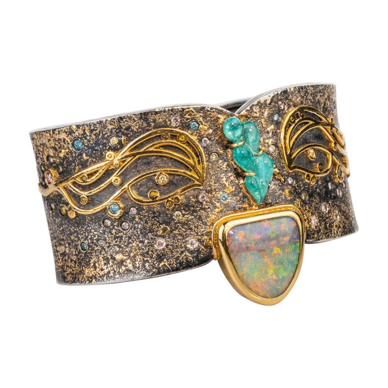 """Oxidized Sterling Silver with 18k, 22k and 24k """"Klimt"""" Inspired Cuff Bracelet For Sale"""