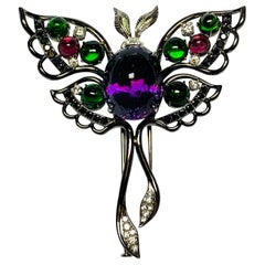 Oxidized White Gold Multicolored Gemstone Butterfly Brooch