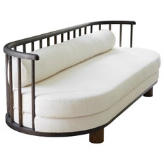Oxidized White Oak with Spindle Back Bone Sofa by Casey McCafferty
