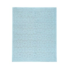 Oxidized Wool Hi and Low Pile Oushak Design Seafoam Green Rug