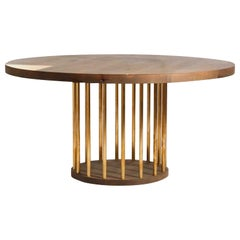 Oxizied Maple Bone Dinning Table with Brass Dowel Base by Casey McCafferty