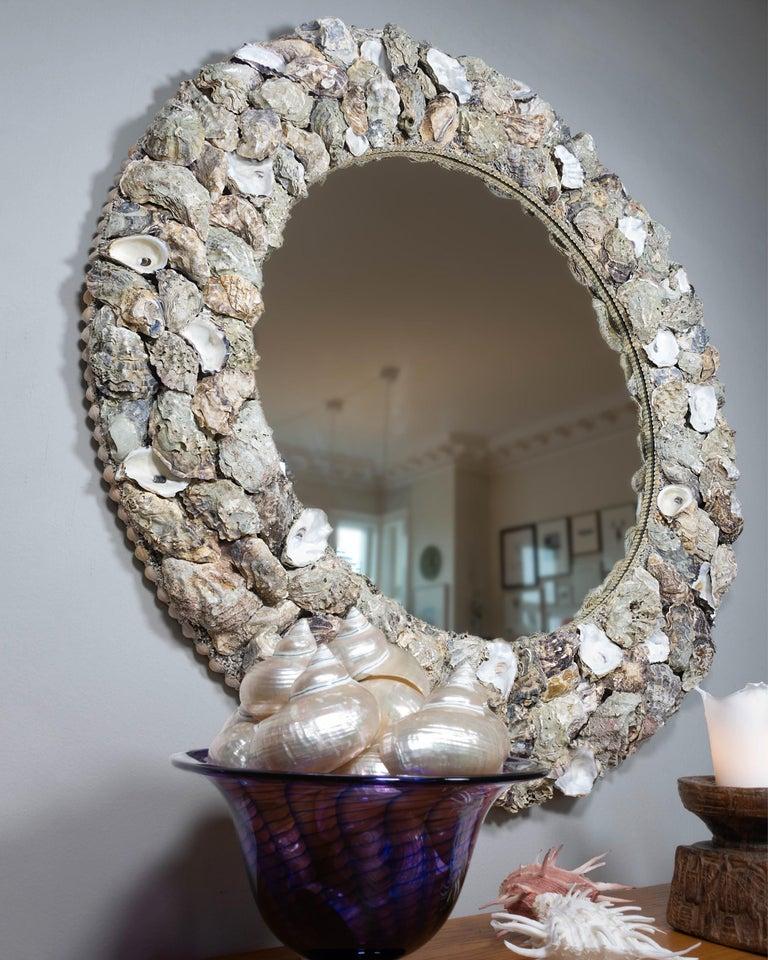 Scandinavian Modern Oyster Bonanza, Unique Shell Mirror by Shellman Scandinavia, Sweden For Sale