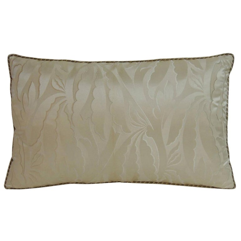 Oyster Color French Silk Deco Decorative Lumbar Pillow For Sale