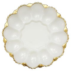 Oyster or Egg White Round Milk Glass Oyster or Egg Serving Dish with Gold Detail