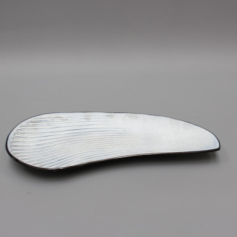 Mid-Century Modern Oyster Shell Shaped Ceramic Tray by Marcel Guillot, circa 1960s For Sale