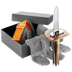 Oyster Shucking Set in Corno Italiano and Stainless Steeel, Mod. 511