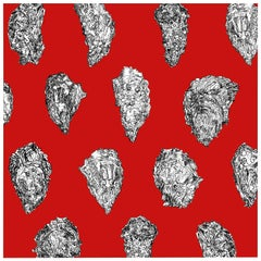 Oysters Wallpaper, Black and White on Red on Smooth Paper