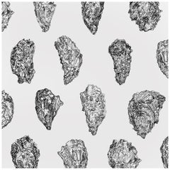 Oysters Wallpaper, Black and White on Smooth Paper