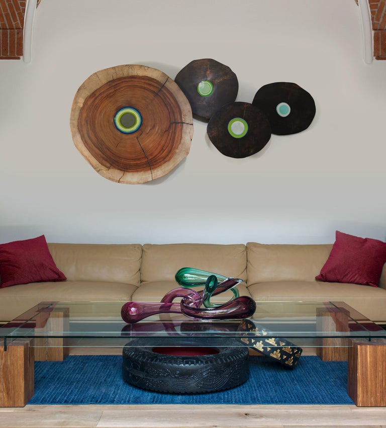 Oysterz Wood and Glass Wall Decoration For Sale 2
