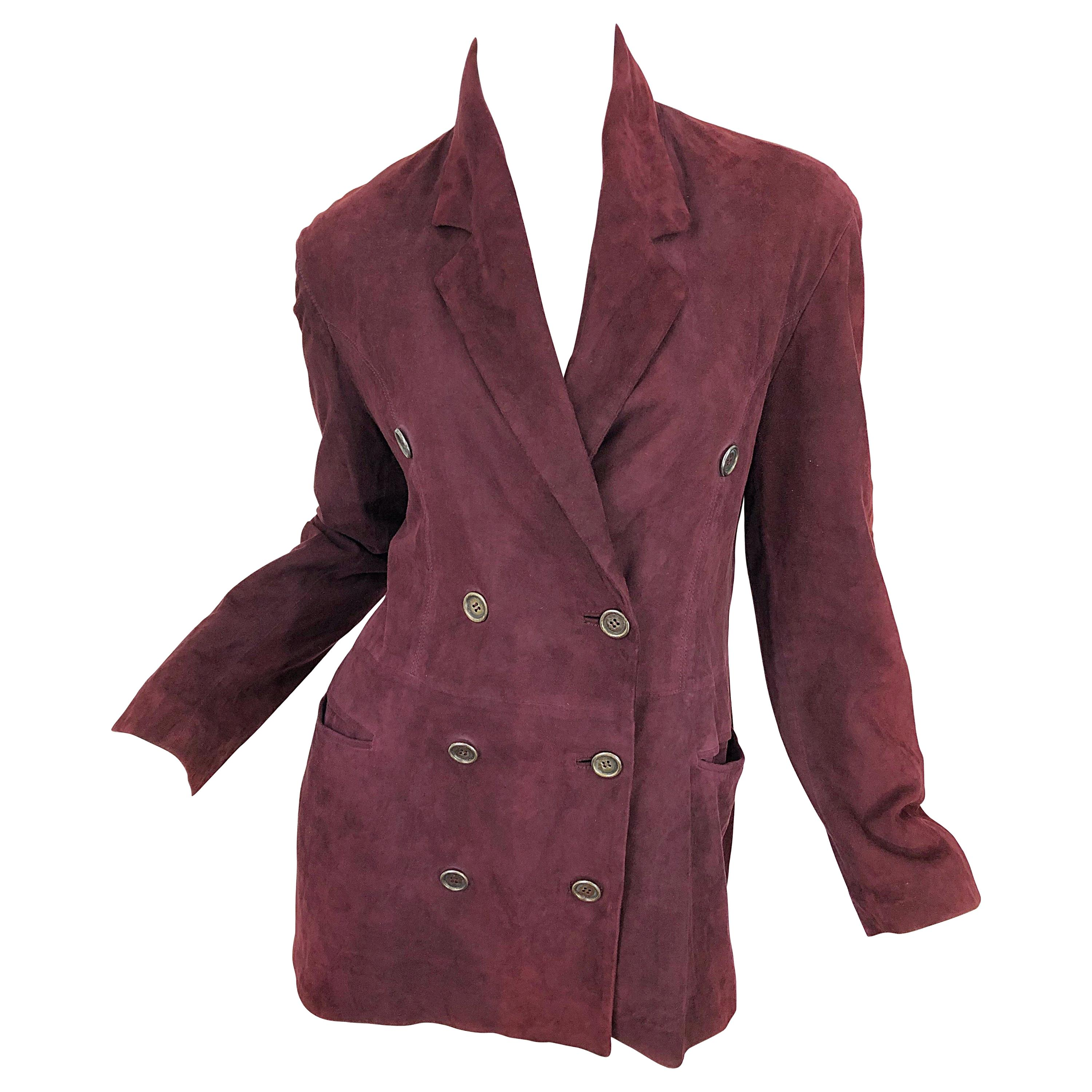Ozbek 1990s Suede Leather Size 8 Burgundy Maroon Double Breasted Blazer Jacket