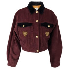 Ozbek Vintage Embroidered Wine Denim & Black Velvet Jacket