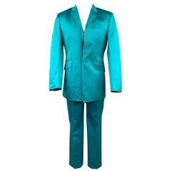 OZWALD BOATENG Size 38 Aqua Cotton Notch Lapel Suit