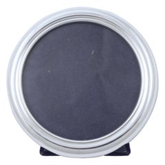P. H. Vogel & Co Italian Sterling Silver Round Photo Frame Blue Velvet 1970s