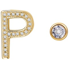 P Initial Bezel Mismatched Earrings