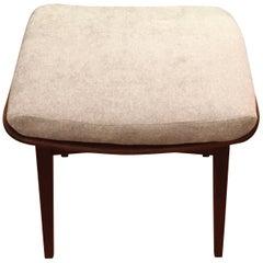 P Jensen Danish Mid-Century Modern Teak Bench or Stool with New Cushion