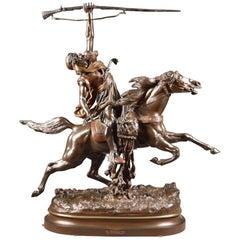 P. Lecourtier, Large Bronze Sculpture, La Fantasia Arab