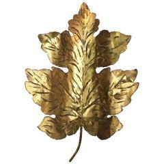 P. Mas-Rossi Brass Leaf Wall Light, circa 1950s