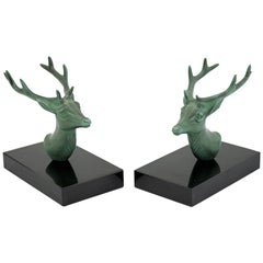 P Mimaux French Art Deco Green Patinated Stag Head Bookends