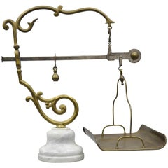P. Quindici 19th Century Chilog Balance Scale Brass and Marble