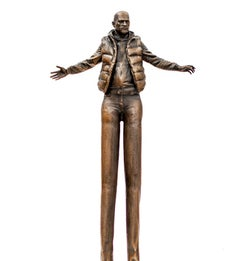 Enlarging Perspective - Surreal stretched male figure in bronze
