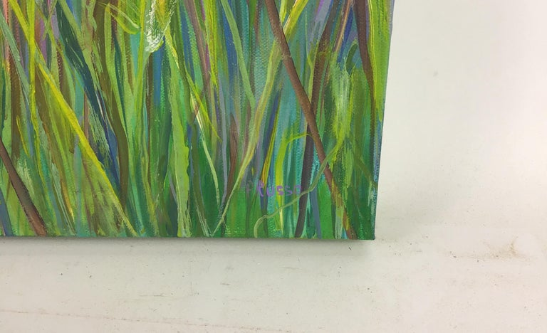 #5-2969 Dandelion,a contemporary landscape painting, acrylic on stretched canvas, signed by P.Russo Unframed