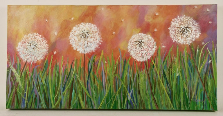 P. Russo Abstract Painting -  Dandelion Impressionist Landscape  Painting
