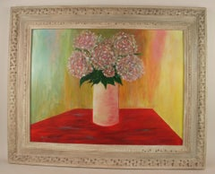 Impressionist Floral  Red Still Life Painting
