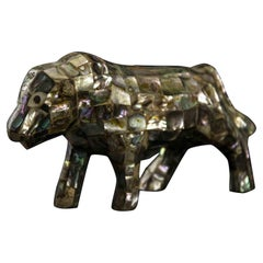P, Vintage Mother of Pearl Animal Sculpturer, Italy, 1970s