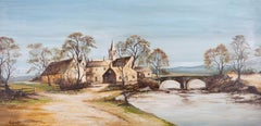P. Winnington - Large Contemporary Oil, Village by the River