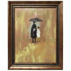 P. Zazzetta Impressionistic Oil Lady and Child under Umbrella