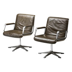 Delta Design Program 2000 Set Chairs in Padded Leather for Wilkhahn