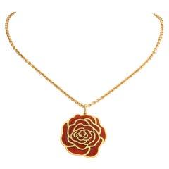 French Enameled Gold Rose Pendant, Paris, 21st Century