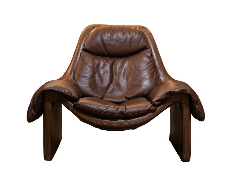 Italian P60 Leather Armchair and Footstool by v. Introini for Saporiti, Italy, 1960s For Sale